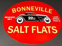 "VINTAGE ""BONNEVILLE SALT FLATS RECORD"" 11 3/4"" PORCELAIN METAL GASOLINE OIL SIGN"