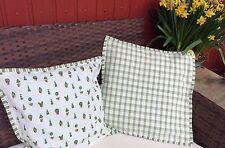 Claye & Eef Landhaus Kissenhülle 40x40 grün beige mit Keder Stuhlkissen Vintage