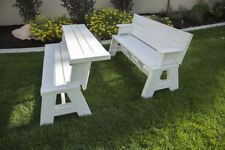 Convertible Outdoor Park Bench Picnic Table All Weather Patio Garden Seating