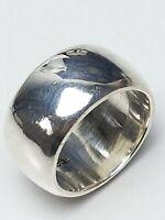 1,2 cm breiter, vollmassiver Bandring 925 Sterling Silber punz. RG 58/18,5 mm