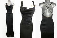 Karen Millen UK 10 Black Satin Cowl Neck Crossed Back Long Maxi Ballgown Dress