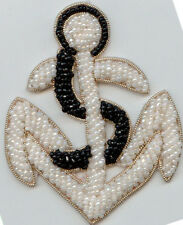 WHITE BLACK BEAD PEARL ANCHOR APPLIQUES LOT OF 6