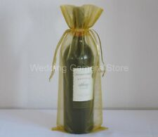 12 Quality gold Organza Bags -Bottle/Wine bags gift, 6x14""