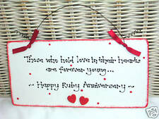 RUBY 40th WEDDING ANNIVERSARY Gift Present Sign Plaque