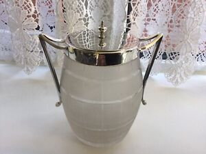 SUPERB ANTIQUE SILVER PLATED & GLASS BARREL HONEY/ MARMALADE PRESERVE JAR