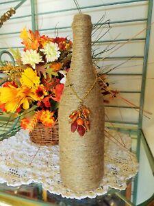 Recycled Wine Bottle Wrapped in Twine / Jute / Hemp w Vintage Beads & Chain