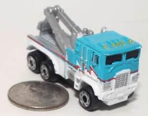 Small Micro Machine Plastic 6X6 Heavy Duty Tow Truck in Blue & White
