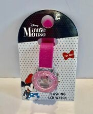 Disney Minnie Mouse Flashing LCD Watch - PINK Ages 6+ Cute! Sparkle Band *NEW