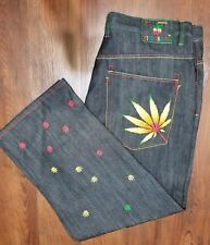 Victorious Men's 42x32 Jeans Embroidered Leaf Flower Urban Hip Rasta Herb Pants