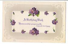 Vintage Postcard A Birthday Wish Purple Flowers Poem Embossed