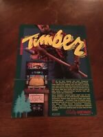 Bally/Midway Timber Video Arcade Game Flyer, 1984 NOS