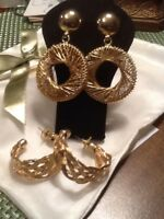 Vintage Large Chunky Wired Gold Tone Earrings Lot Of 2 Pairs