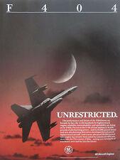 11/1987 PUB GE GENERAL ELECTRIC F404 ENGINE F/A-18 F-18 US NAVY ORIGINAL AD