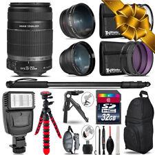 Canon EFS 55-250 IS  - 3 Lens Kit + Slave Flash + Tripod - 32GB Accessory Bundle