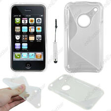 Housse Etui Coque Silicone S-line Transparent Apple iPhone 3GS 3G + Mini Stylet
