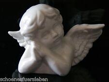 Engel Putte Büste Porzellan lasiert weiß Figur Statue glänzend Engelbüste