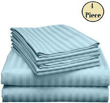 "100% Cotton Bed Sheet Set 400 Tc Blue Stripe Queen/King All Size Deep 15"""