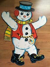 "BEISTLE Snowman DIECUT Christmas 28 3/4"" Hinged TIME PIECE Excellent VINTAGE"