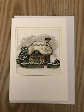 Lilliput Lane Christmas Cottage Card - Completed Cross Stitch