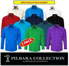 RITEMATE PILBARA - 2 PACK - OPEN  FRONT LONG SLEEVE MENS WORK  SHIRT - RM500BT