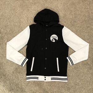 Disney Jack Skellington Men's Medium Black White Varsity Hoodie Full Zip Jacket