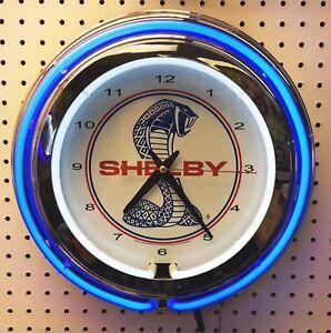 "15"" Blue SHELBY Snake Double Neon Chrome Clock Cobra Mustang"