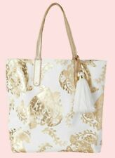 New Lilly Pulitzer REVERSIBLE SHOPPER TOTE Gold Metallic Turtley Awesome White