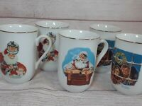 5 Vintage Norman Rockwell Museum Collectible Coffee Mugs Cups 1985- Christmas