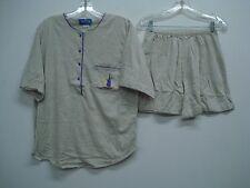 Nancy King Lingerie 2 Piece Pajama Shorts & Top Set Size S Grey w/ Purple #546N