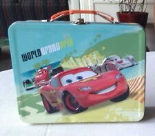 Disney Cars Lightning McQueen World Grand Prix Tin Metal LunchBox Tin Box Co.