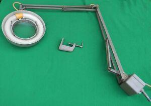 Vintage Luxo Illuminated Magnifier Lamp Light  Industrial Flex Arm