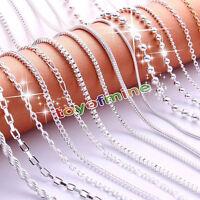 Massivem 925 Sterling Silber  Halskette 16in & 18in Frauen