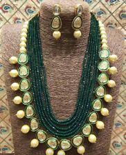 Bollywood CZ Kundan Necklace Jewelry Polki Statement Set Green Raani Haar