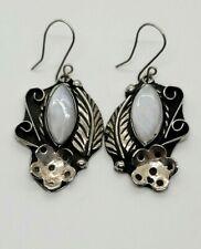 & Feather Earrings W/ Mop Nice! Navajo Sterling Silver Hook & Dangle Blossom