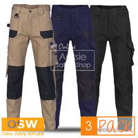 3 X MENS AIR FLOW WORK TROUSERS TRADIE BUILDER COTTON CARGO PANTS 10-POCKETS