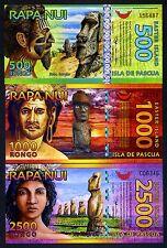 SET Easter Island, 500;1000;2500 Rongo, 2011-2012, Polymer, UNC