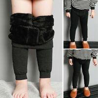 Kids Girls Boys Winter Warm Thick Full Length Leggings Party Pants Children