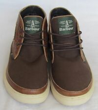 NEW Barbour Ladies Boys Tan Leather & Brown Canvas Hi Tops Boots Size 6