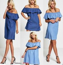 WOMENS LADIES DENIM JEANS BLUE FRILL OFF SHOULDER BARDOT SUMMER TUNIC DRESS 8-18