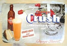 Orange Crush Sherbet Vintage 1940's Soda Pop Poster Sign B214 Treat the Family