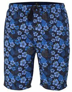 TOM TAILOR Bermuda kurze Schlafanzughose Herren Nachtwäsche Homewear blau floral