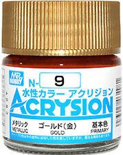 GSI CREOS GUNZE MR HOBBY ACRYSION ACRYLIC N009 N9 Metallic Gold COLOR PAINT 10ml
