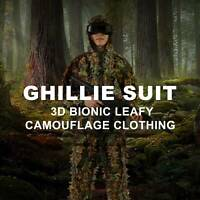 Longleaf Ghillie Suit 3D Bionic Leafy Camo Clothing for Hunting Airsoft w Zipper