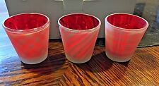 PARTY LITE TEALIGHT TRIO 2 Gingham NEW & 1 Candy Cane Stripe IN ORIGINAL BOX