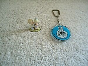 Vintage Lot Of 2 Precious Moments Items,1,1985 Keychain,1,2000 Mini Figurine