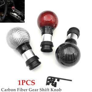 Car Carbon Fiber Gear Shift Knob Button Shifter Lever Head Handball Extend Kit