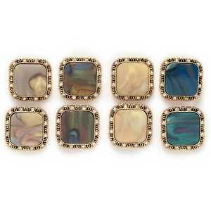 5pcs Retro Square Metal Buttons for Clothing Repair Sewing Handmade Decor 21mm