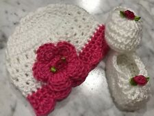 Handmade Crochet Baby Girl Hat Shoes Set Newborn 0-3 White Hot pink