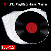 100PCS 12'' LP LD Vinyl Record Antistatic Clear Plastic Cover Inner Sleeves ! !