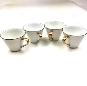 Set of 4 Empress China Japan Tea Cups Coffee Gold Tone